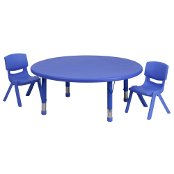 """Flash Furniture Round Plastic Height-Adjustable Activity Table Set With 2 Chairs, 23-3/4""""H x 45""""W x 45""""D, Blue"""