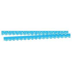 """Barker Creek Scalloped-Edge Border Strips, 2 1/4"""" x 36"""", Happy Pool Blue, Pre-K To College, Pack Of 26"""
