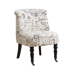 Monarch Specialties Traditional Slipper Accent Chair, Vintage French Script Off-White/Black