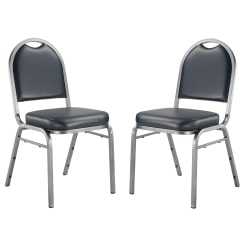 National Public Seating Dome-Back Stacking Chairs, Vinyl, Midnight Blue/Silvervein, Set Of 2