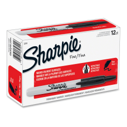 Sharpie® Retractable Permanent Markers, Fine Point, Black, Box Of 12