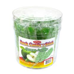 """Espeez Rock Candy Sticks, 7"""", Green Apple, Pack Of 36"""