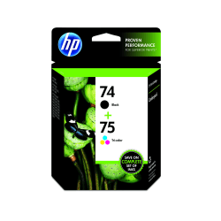 HP 74 Black And 75 Tri-Color Ink Cartridges (CC659FN), Pack Of 2