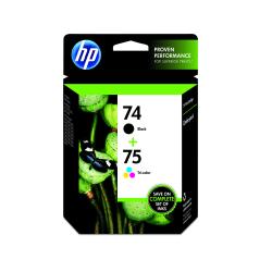 HP 74/75, Black/Color Original Ink Cartridges (CC659FN), Pack Of 2