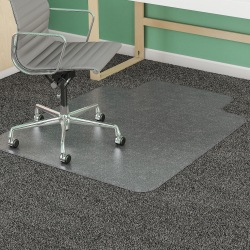 "Deflect-O® SuperMat Medium Weight Chair Mat For Carpet, 60"" x 46"" (25"" x 12"" Lip), Clear"