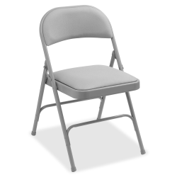 Lorell® Padded Steel Folding Chairs, Beige, Set Of 4 Chairs