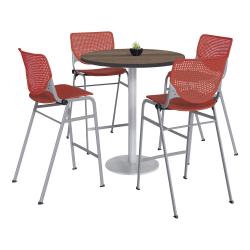 "KFI Studios KOOL Round Pedestal Table With 4 Stacking Chairs, 41""H x 36""D, Studio Teak/Coral Orange"