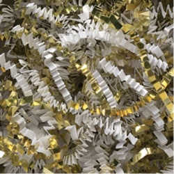 Partners Brand White and Gold Metallic Blend Crinkle PaPer, 10 lbs Per Case