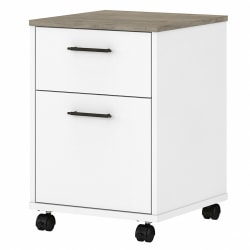 Bush Furniture Key West 2-Drawer Mobile File Cabinet, Shiplap Gray/Pure White, Standard Delivery