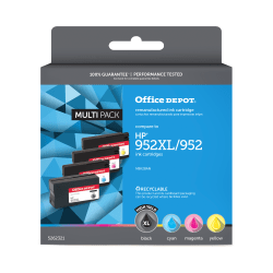 Office Depot® Brand N9K28AN Remanufactured Black / Tri-Color Ink Cartridge Replacement For HP 952XL / 952, Pack Of 4