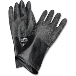 "NORTH 14"" Unsupported Butyl Gloves - Chemical Protection - 10 Size Number - Butyl - Black - Water Resistant, Durable, Chemical Resistant, Ketone Resistant, Rolled Beaded Cuff, Comfortable, Abrasion Resistant, Cut Resistant, Tear Resistant"