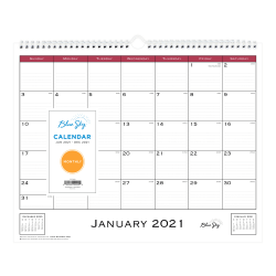 """Blue Sky™ Monthly Wire Wall Calendar, 12"""" x 15"""", Classic Red, January To December 2021, 111292"""