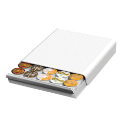 """Mind Reader 'Coupe' Coffee Pod Drawer For 30 K-Cups®, 2 1/2"""" x 9 3/8"""" x 13 1/8"""", White"""