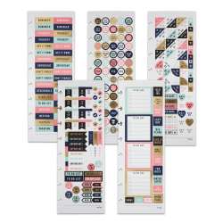 """TUL® Discbound Notebook Sticker Sheets, 3"""" x 8-1/2"""", Assorted, 10 Sheets, 2 Sheets of 5 Designs"""