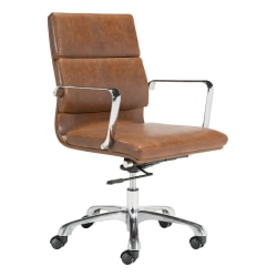 Zuo® Modern Ithaca Mid-Back Chair, Vintage Brown/Chrome