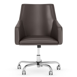 Bush Business Furniture London Mid-Back Box Chair, Brown, Standard Delivery