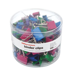 Office Depot® Brand Binder Clip Combo Pack, Assorted Sizes, Assorted Colors, Pack Of 200