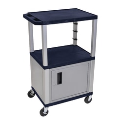"H. Wilson Plastic Utility Cart With Locking Cabinet, 42 1/2""H x 24""W x 18""D, Topaz Blue/Nickel"