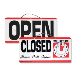 "Advantus ""Open/Closed"" Sign With Clock, 6"" x 11 1/2"""