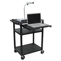 """H. Wilson Audio/Visual Cart With Front Shelf And Electrical Assembly, 34""""H x 24""""W x 18""""D, Black"""