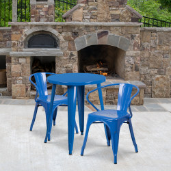 "Flash Furniture Commercial-Grade Round Metal Indoor/Outdoor Table Set With 2 Arm Chairs, 29""H x 24""W x 24""D, Blue"