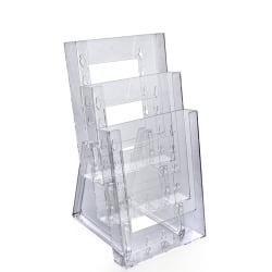 """Azar Displays Tiered Modular 3-Pocket Crystal Styrene Brochure Holders, 11 3/4""""H x 6 1/4""""W x 7""""D, Clear, Pack Of 2"""