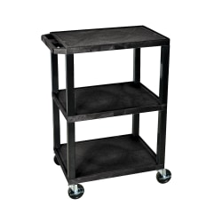 "H. Wilson 3-Shelf Plastic Specialty Utility Cart, 34""H x 24""W x 18""D, Black Shelves/Black Legs"