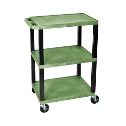 "H. Wilson 3-Shelf Plastic Specialty Utility Cart, 34""H x 24""W x 18""D, Green Shelves/Black Legs"