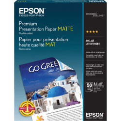 """Epson® Double-Sided Premium Presentation And Photo Paper, Matte, Letter Size (8 1/2"""" x 11""""), 47 Lb, Pack Of 50 Sheets"""