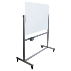 """U Brands Magnetic Dry-Erase Whiteboard With Rolling Easel, Glass, 49"""" x 41"""", Metal Frame With Frosted White Finish"""