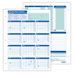"ComplyRight™ 2021 Attendance Calendar Cards, 8 1/2"" x 11"", White, Pack Of 25"