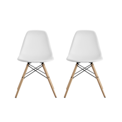 DHP Mid-Century Modern Molded Chairs With Wood Legs, White/Birch, Set Of 2