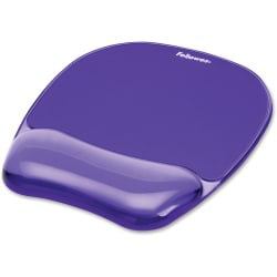 "Fellowes® Gel Crystals Mouse Pad With Wrist Rest, 1""H x 7.94""W x 9.25""D, Purple"