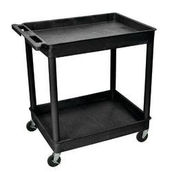 "H. Wilson Plastic Tub Cart, 37 1/4""H x 32""W x 24""D, Black"