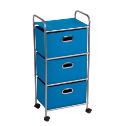 "Honey-can-do CRT-02347 3-Drawer Rolling Fabric Cart, Blue - 3 Drawer - 11.5"" Length x 16.1"" Width x 35.5"" Height - Blue"