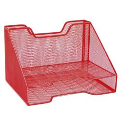 """Mind Reader 3-Compartment Desk Organizer, 8-1/4""""H x 12-1/2""""W x 9-3/4""""D, Red"""