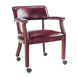 Alera® Traditional Guest Chair With Arms And Casters, Burgundy/Mahogany