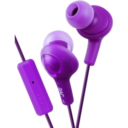 JVC Gumy Plus Inner Ear Headphones With Remote & Mic - Stereo - Wired - 16 Ohm - 10 Hz - 20 kHz - Earbud - Binaural - Open - 3.28 ft Cable - Violet