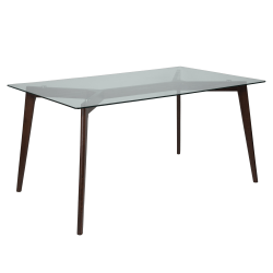 """Flash Furniture Solid Wood Table With Glass Top, 29-1/4""""H x 35-1/4""""W x 59""""D, Clear/Espresso"""