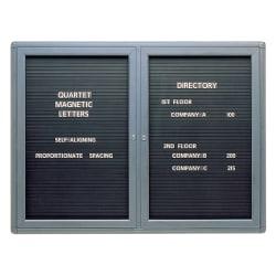 """Quartet® Enclosed Magnetic Letter Board, 48"""" x 36"""", Black Metal Frame"""