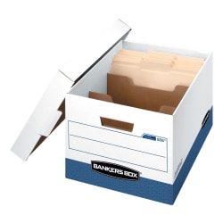 "Bankers Storage Box® R Kive® DividerStorage Box™ FastFold® Heavy-Duty File Storage Boxes With Locking Lift-Off Lids And Built-In Handles, Letter/Legal Size, 15""D x 12"" x 10"", 60% Recycled, White/Blue, Case Of 4"