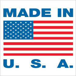 """Tape Logic® Preprinted Labels, USA302, Made in U.S.A., Square, 1"""" x 1"""", Red/White/Blue, Roll Of 500"""