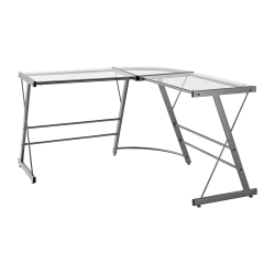 Ameriwood™ Home Glass L-Shaped Computer Desk, Gray