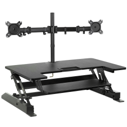 "Mount-It! MI-7934 Standing Desk Converter With Dual-Monitor Mount, 36-1/4""H x 22""W x 9-3/4""D, Black"