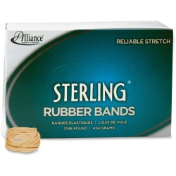 """Alliance Rubber 24125 Sterling Rubber Bands - Size #12 - Approx. 3400 Bands - 1 3/4"""" x 1/16"""" - Natural Crepe - 1 lb Box"""