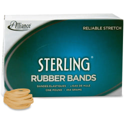 """Alliance Rubber 24305 Sterling Rubber Bands - Size #30 - Approx. 1500 Bands - 2"""" x 1/8"""" - Natural Crepe - 1 lb Box"""