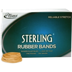 "Alliance Rubber 24315 Sterling Rubber Bands - Size #31 - Approx. 1200 Bands - 2 1/2"" x 1/8"" - Natural Crepe - 1 lb Box"