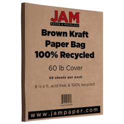 """JAM Paper® Cover Card Stock, 8 1/2"""" x 11"""", 60 Lb, Brown Kraft, Pack Of 50 Sheets"""