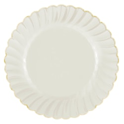 "Amscan Scalloped Premium Plastic Plates With Trim, 10-1/4"", Cream/Gold, Pack Of 10 Plates"