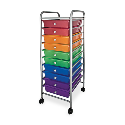 "Office Depot® Brand 10-Drawer Organizer With Casters, 37 1/2""H x 15 1/2""W x 13""D, Multicolor"